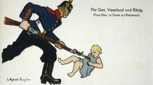 Duitse soldaat steekt baby WOI